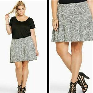 Torrid Marled Gray Elastic Waist Mini Skirt